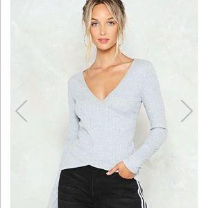 Gray ribbed knit top